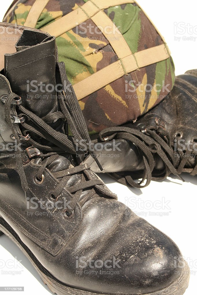 Army Boots and Helmet royalty-free stock photo