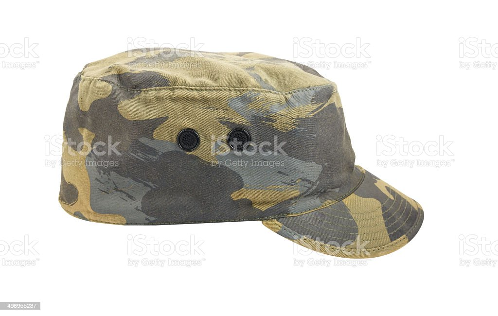 Army camouflaged cap isolated on white background stock photo