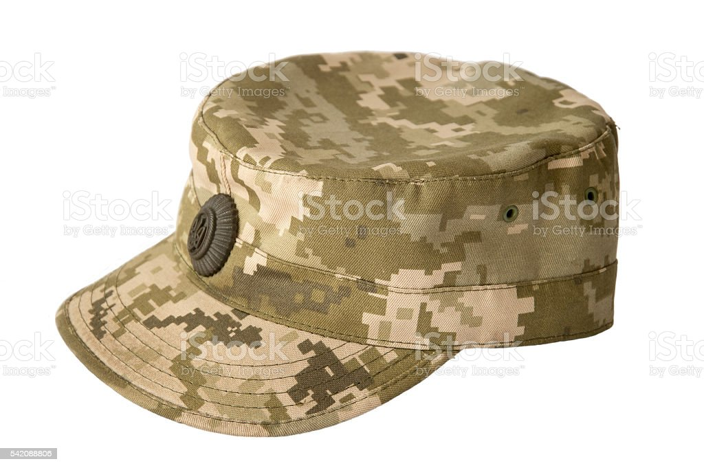 Army camouflaged cap, isolated on white background stock photo