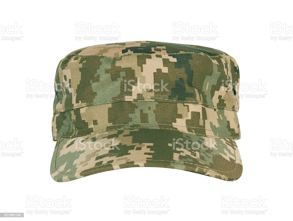 Army camouflaged cap stock photo