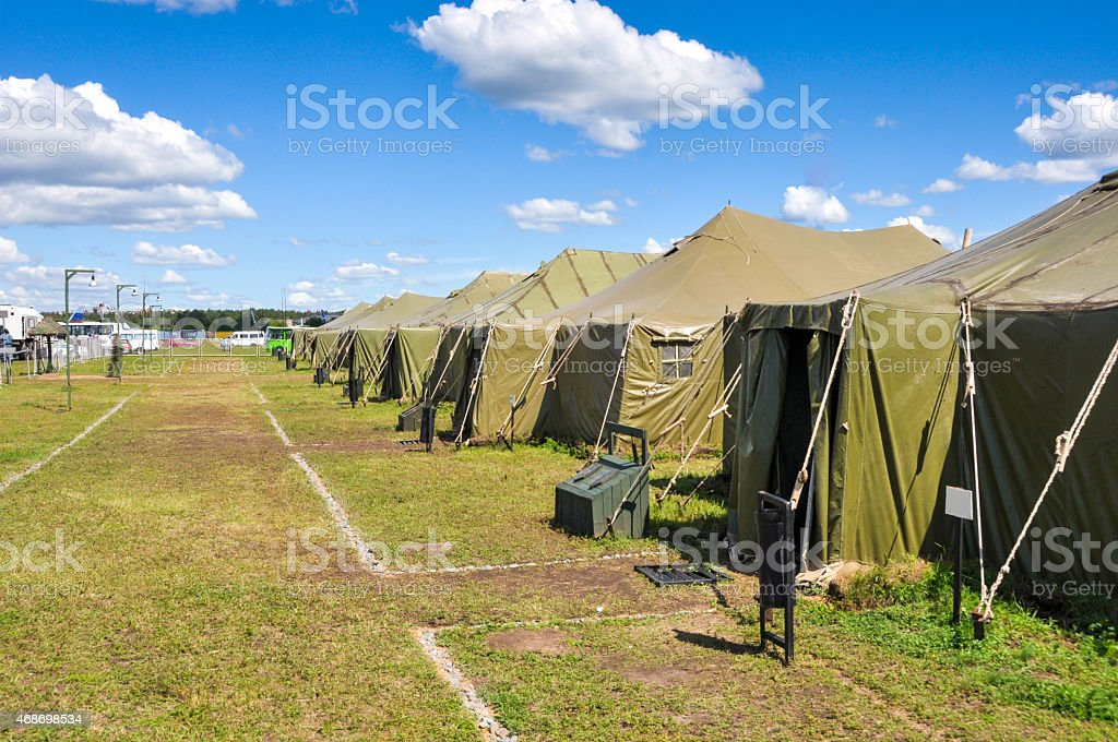 Army camp stock photo