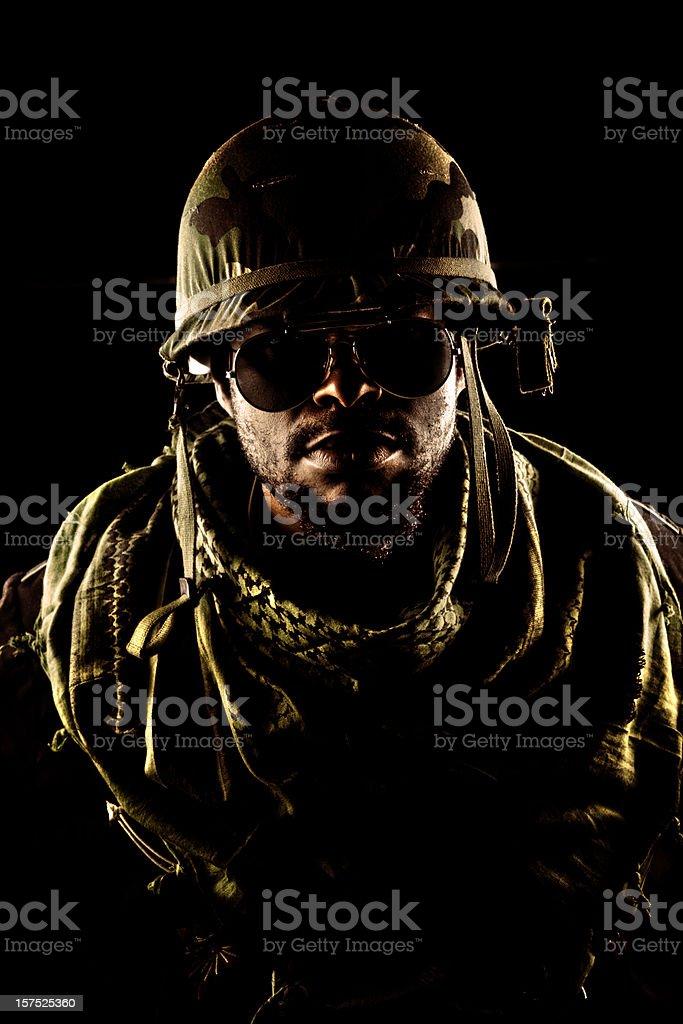army captain in the dark stock photo