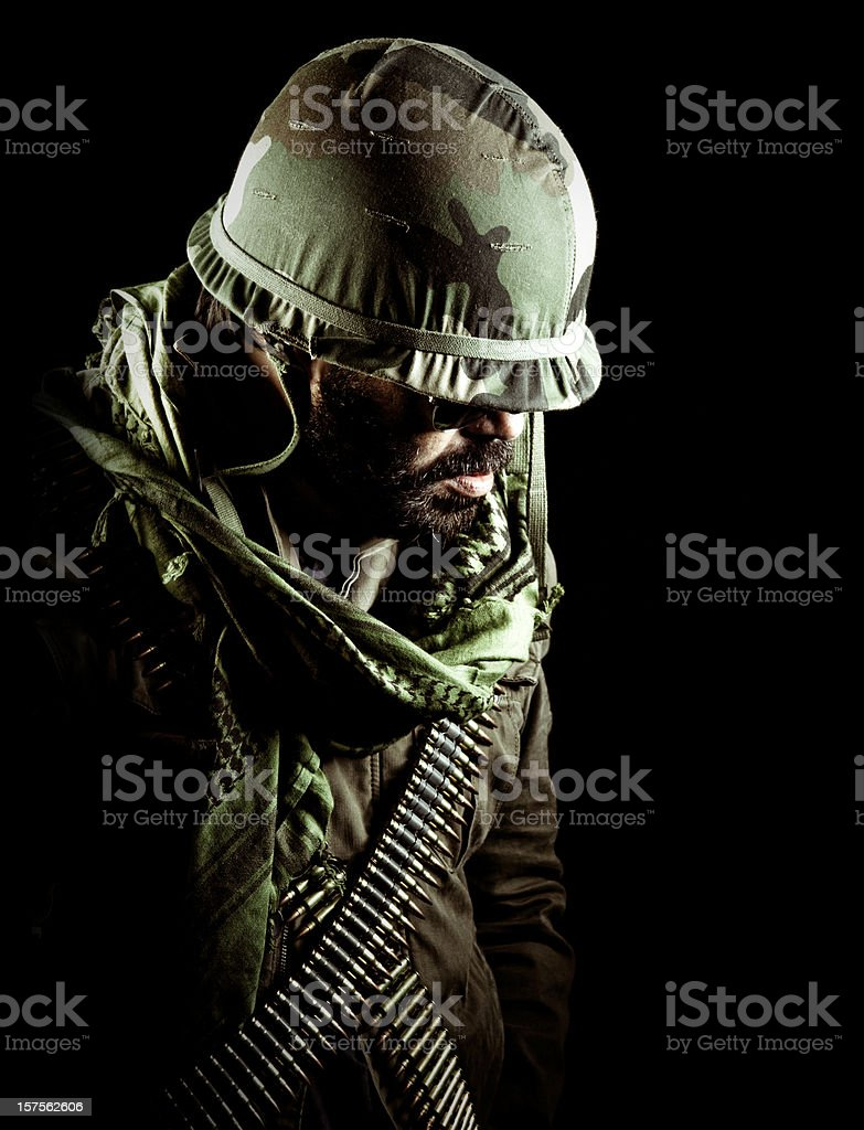 army captain looking down stock photo