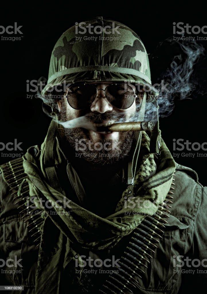 army captain smoking a cigar stock photo