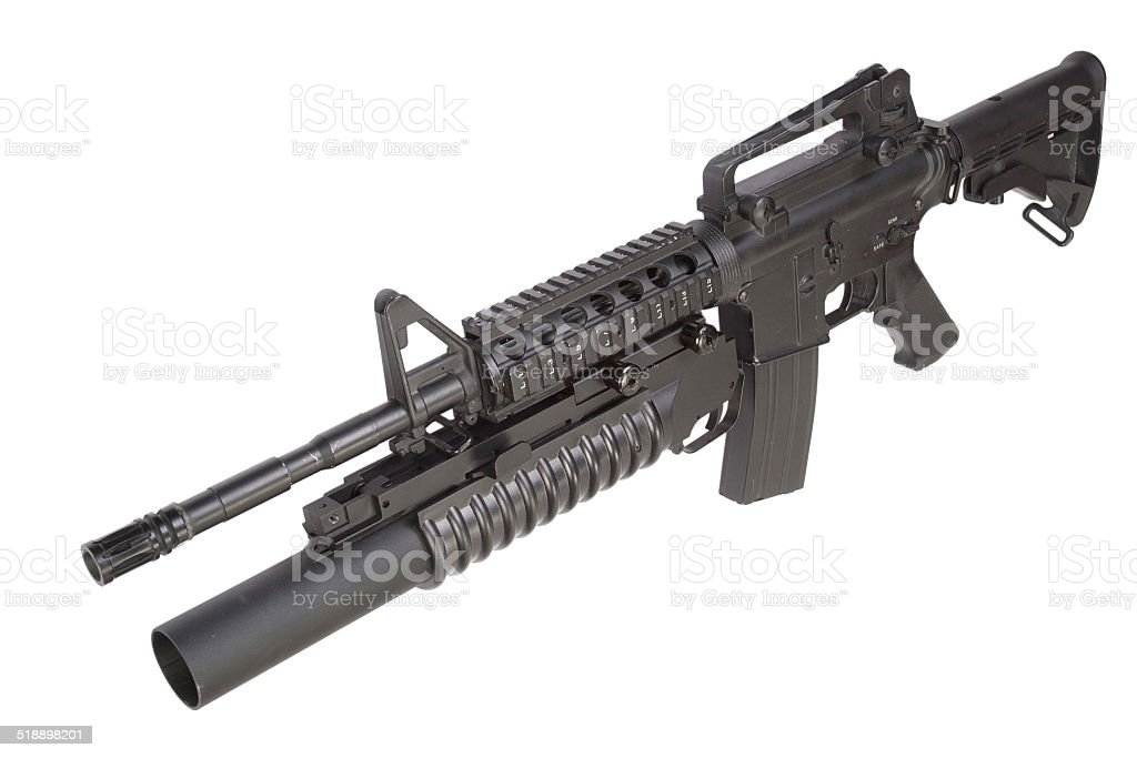 army carbine equipped with an M203 grenade launcher stock photo