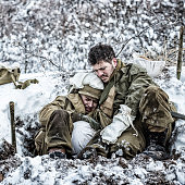 WWII US Army Combat Soldier Comforting Terrified Crying Foxhole Buddy