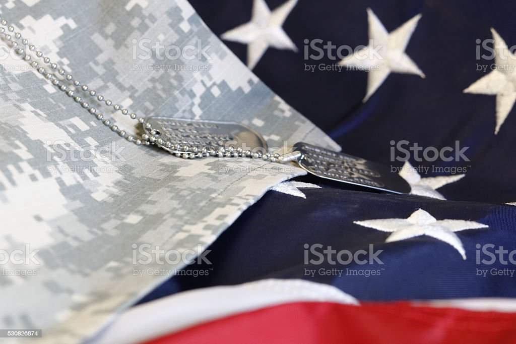 Army dog tags stock photo
