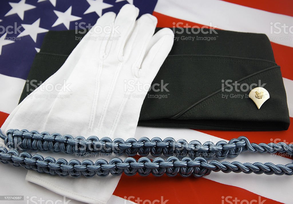 Army Enlisted E-4 Rank Gloves and Shoulder Cord royalty-free stock photo