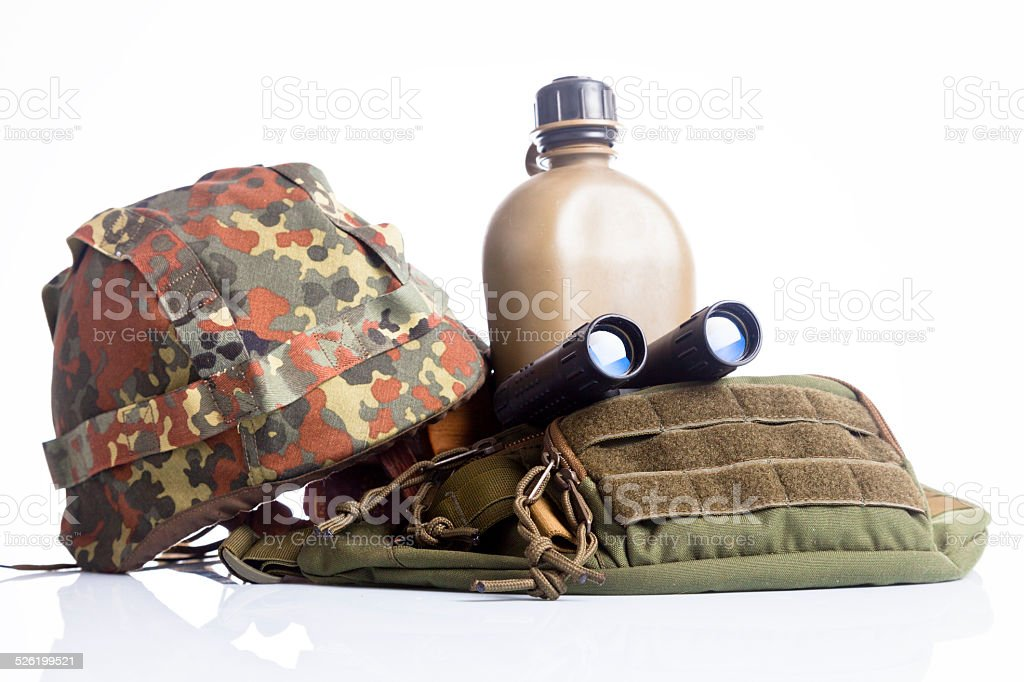 army equipment isoalted on white stock photo
