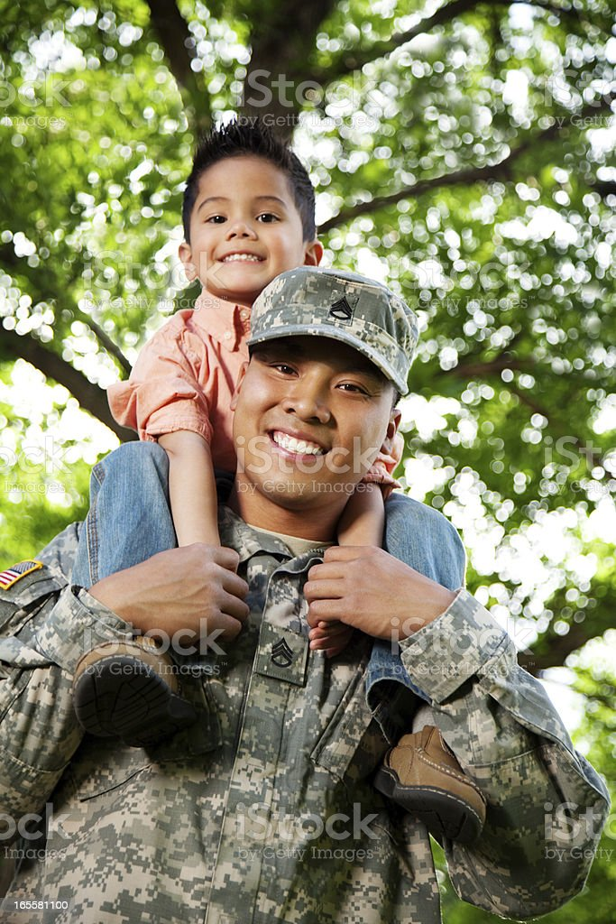Army Family Series: Young American Soldier & Son royalty-free stock photo