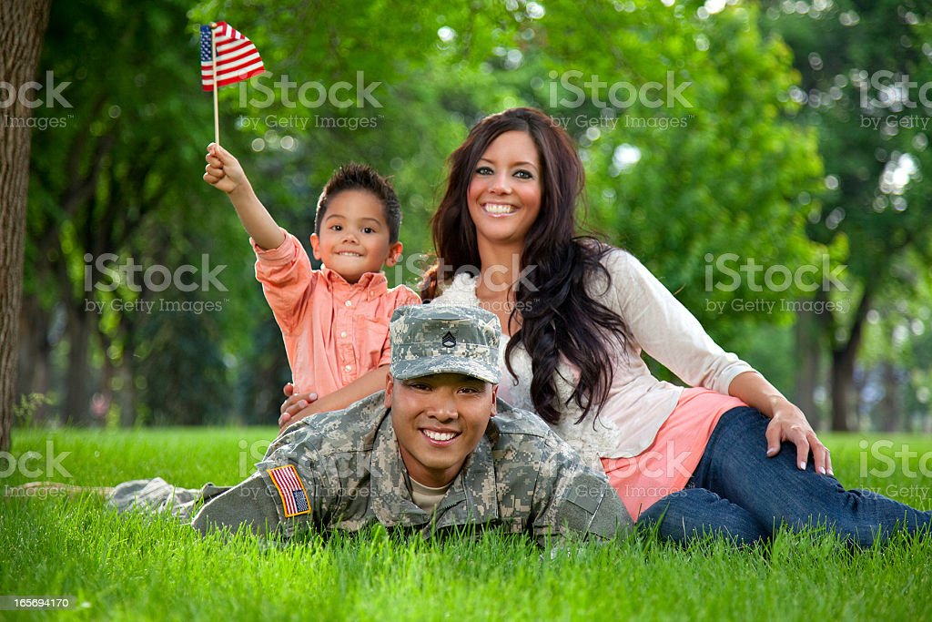 Army Family Series: Young US Soldier with Wife & Son stock photo