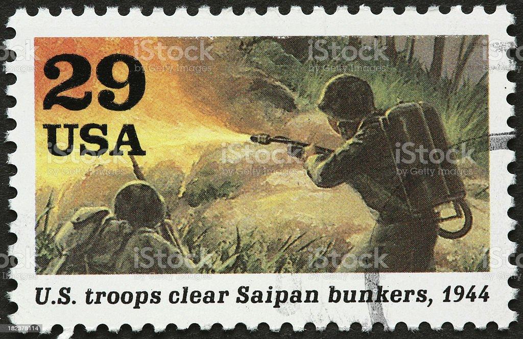 army fighting on Saipan during world war II stock photo