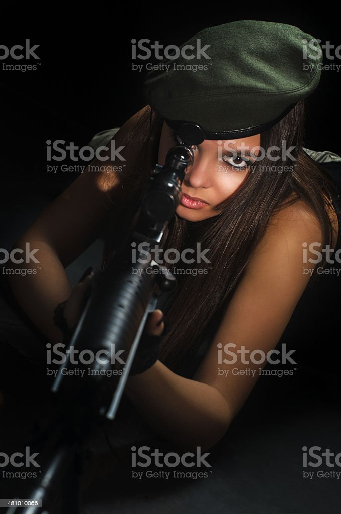 army girl in beret stock photo