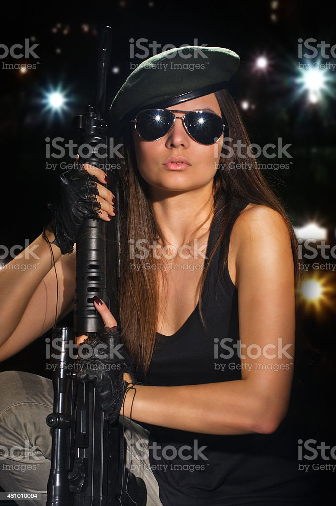 army girl in glasses at the night stock photo