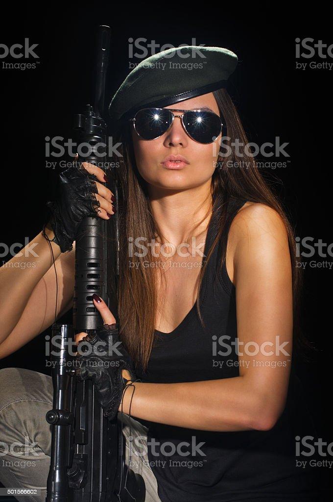 army girl in glasses stock photo