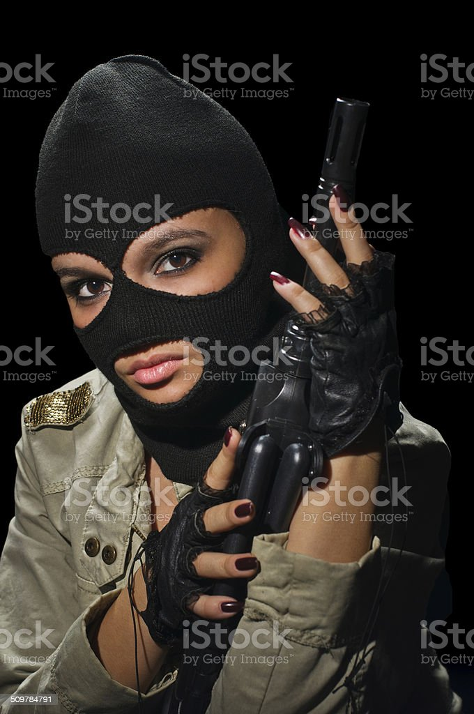 army girl in mask stock photo