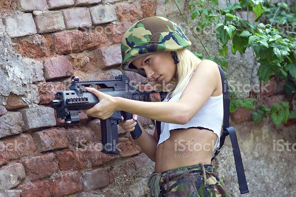 army girl with rifle royalty-free stock photo
