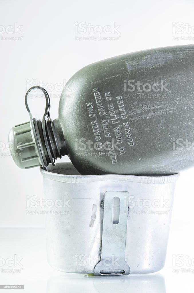 Army green canteen against a white background stock photo