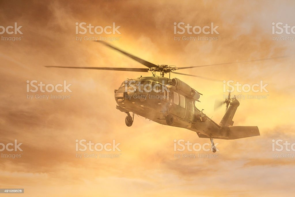 Army Helicopter in Fog stock photo