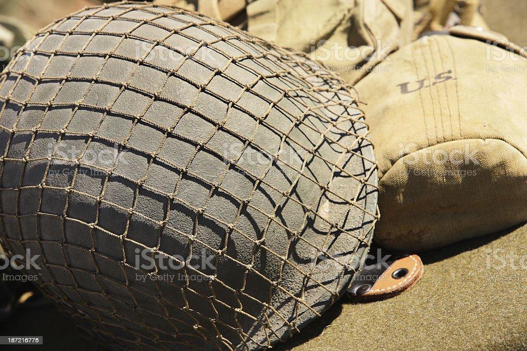 Army Helmet Canteen Military Equipment stock photo