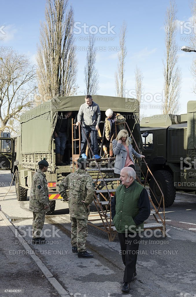 Army helping victims of flooding stock photo