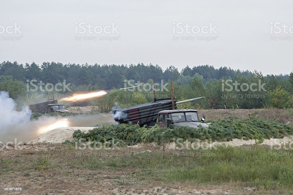Army in combat stock photo
