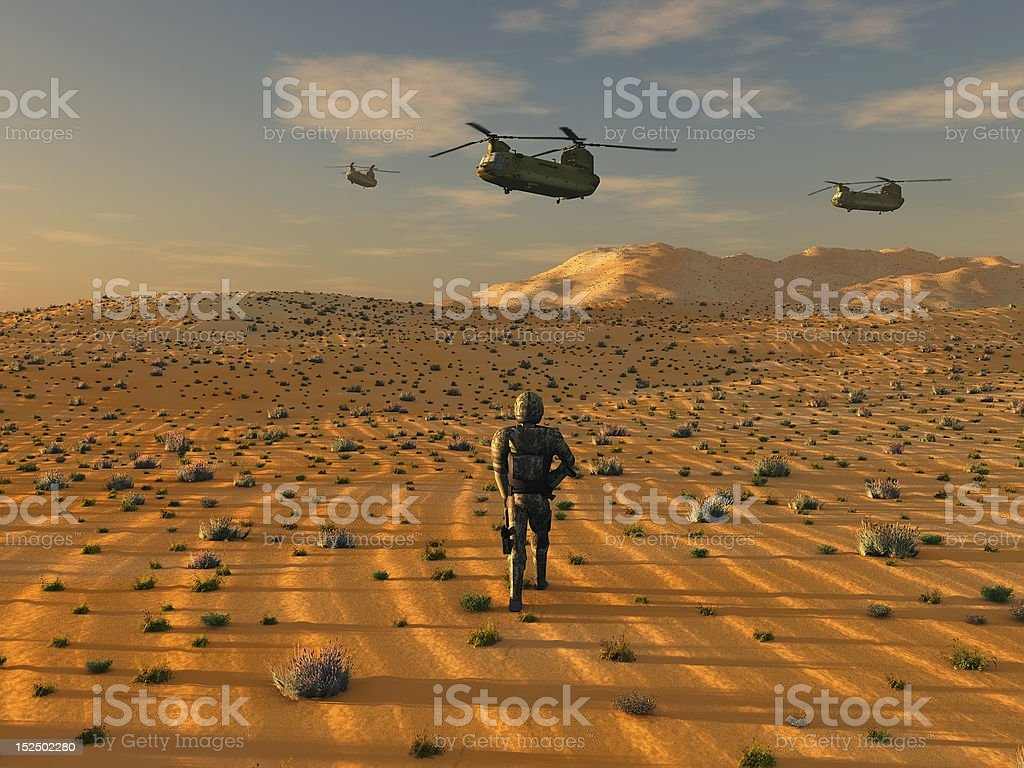 army in desert stock photo