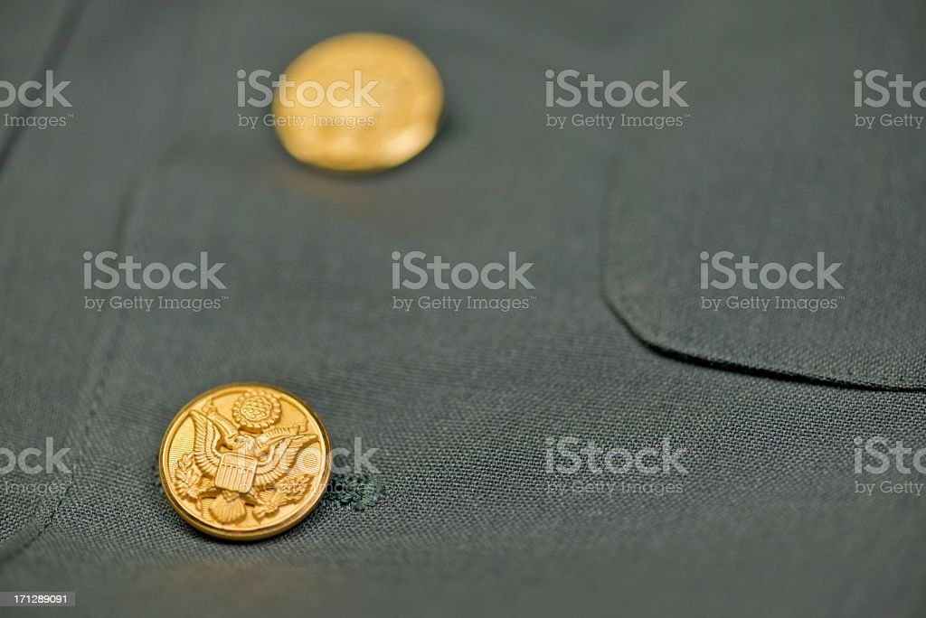 US Army Jacket Eagle Buttons stock photo