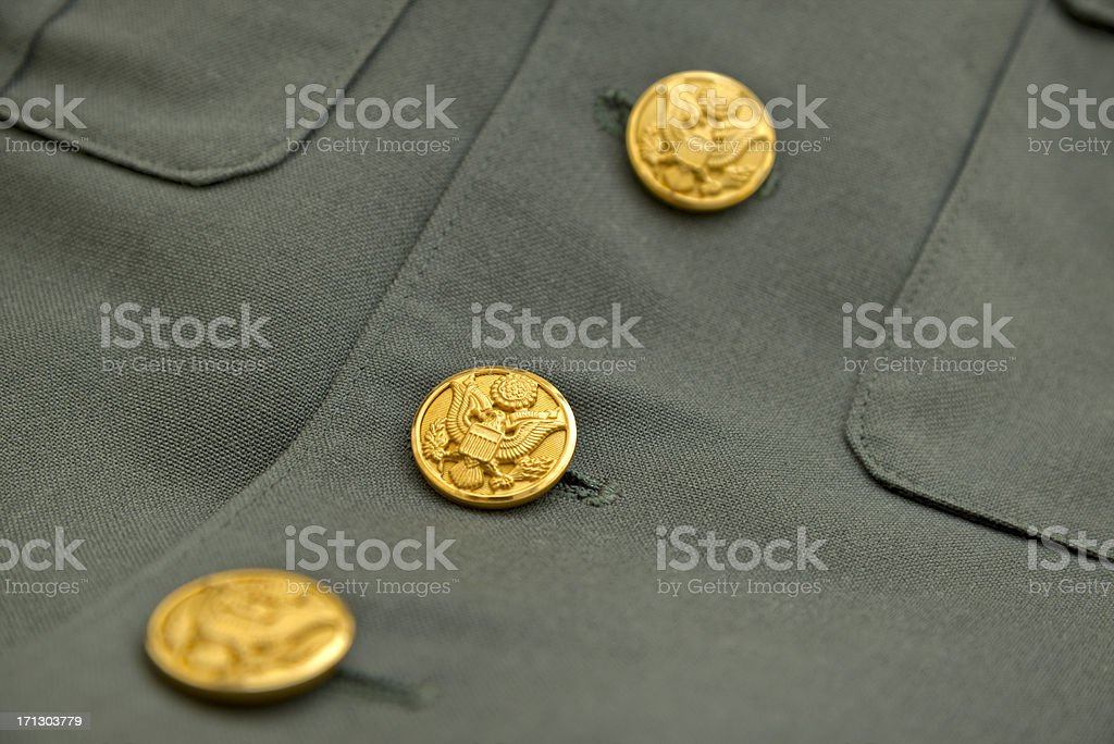 US Army Jacket Eagle Buttons royalty-free stock photo