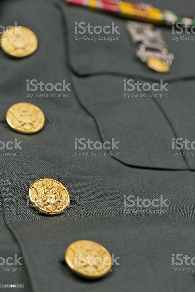 US Army Jacket with Medals and Eagle Buttons stock photo