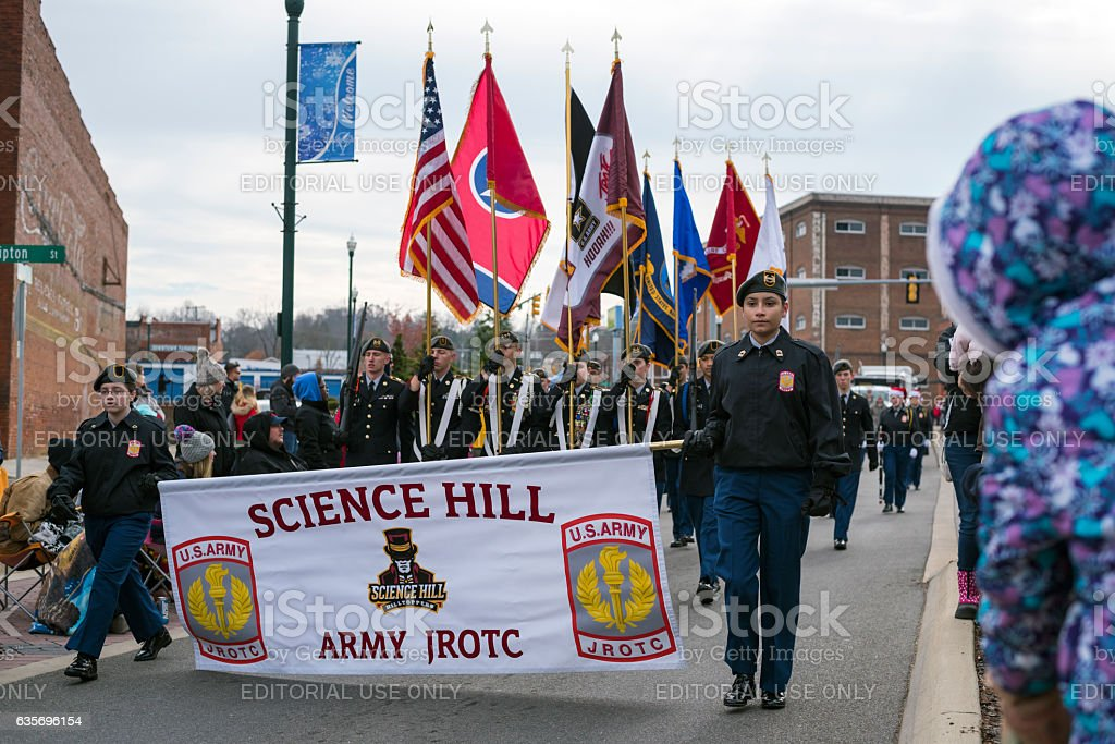 Army JROTC marching at Christmas parade in Johnson City, Tennessee stock photo