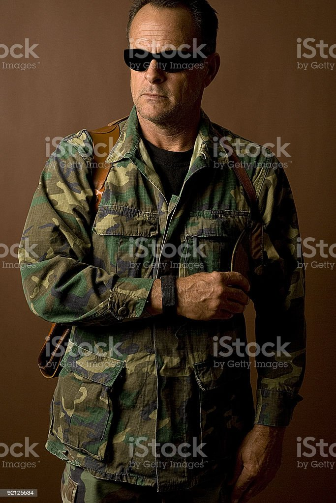 Army Man Posing With Sunglasses royalty-free stock photo