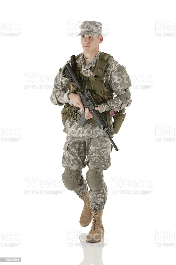Army man with a rifle royalty-free stock photo