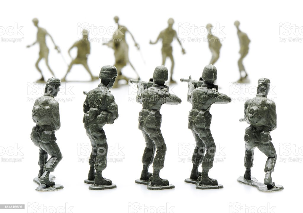 Army men fighting stock photo