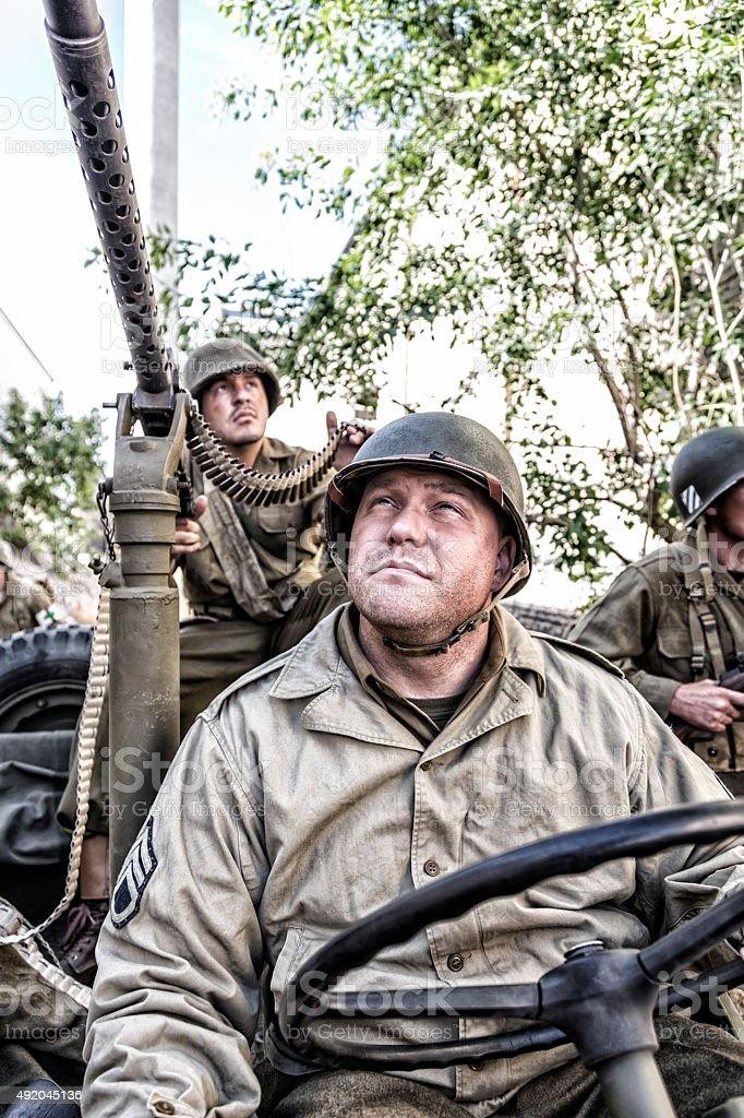 WWII US Army Military Vehicle Machine Gun Patrol stock photo