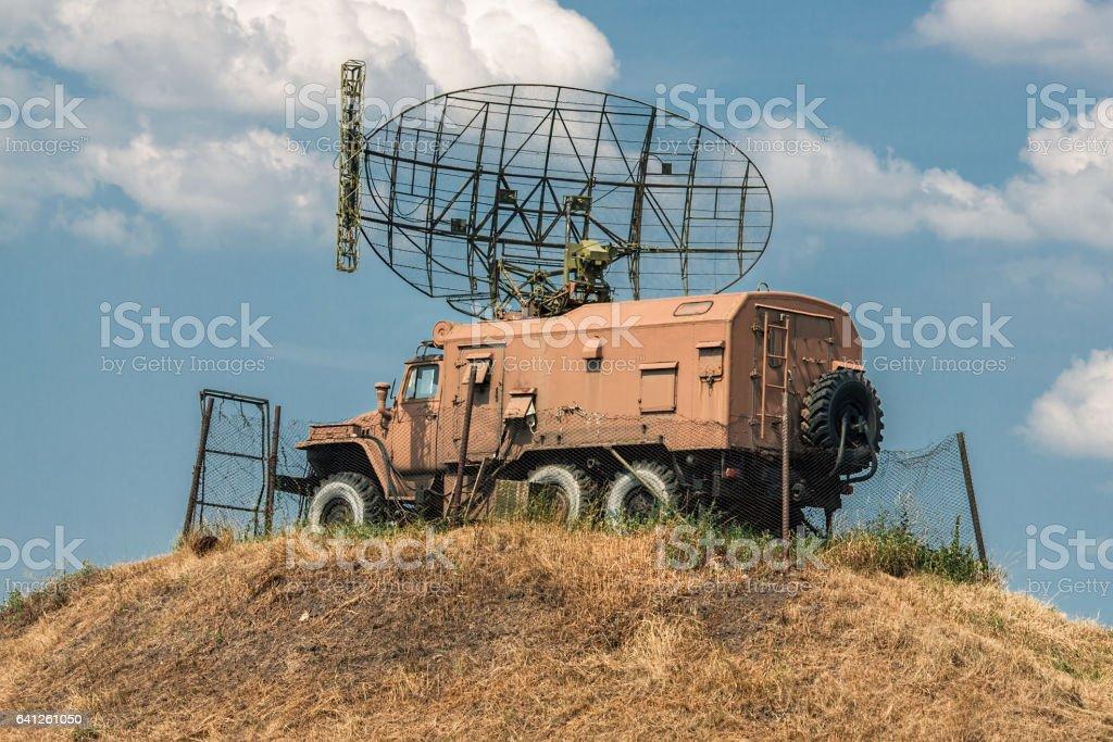 Army mobile radar station stock photo