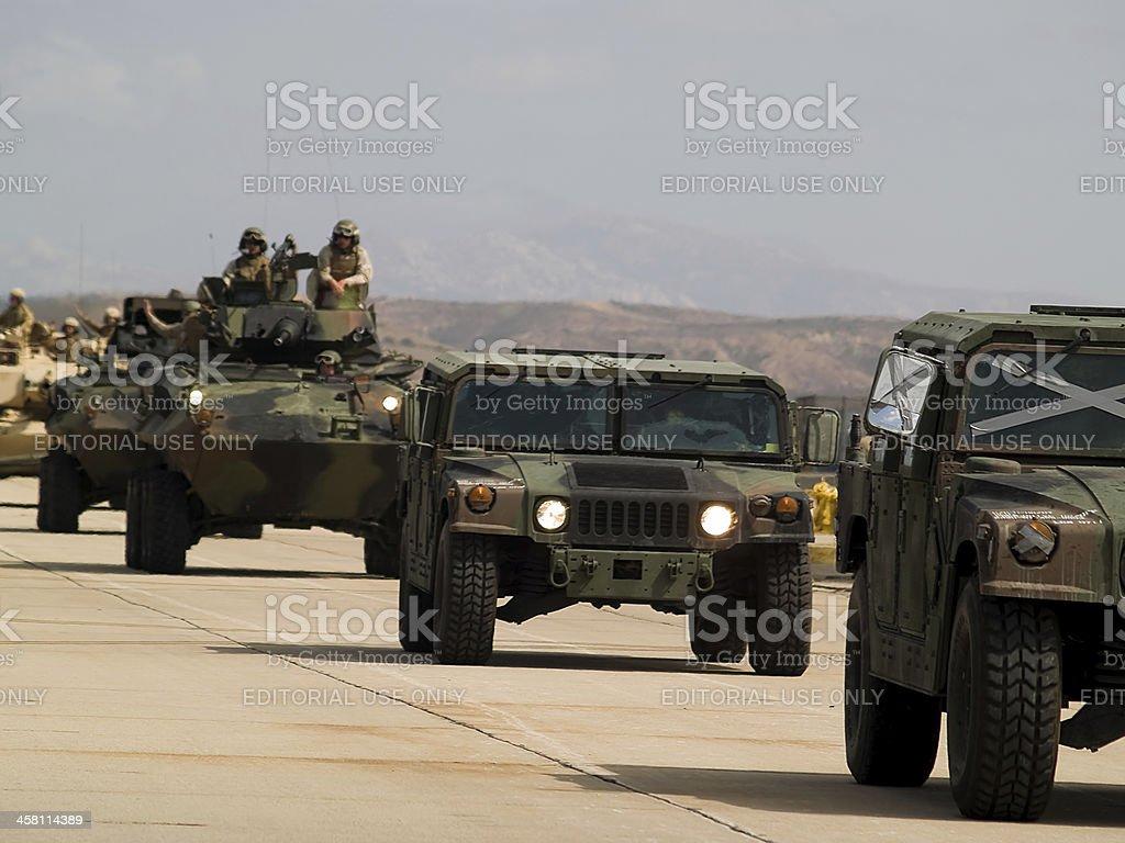US army moves forward stock photo