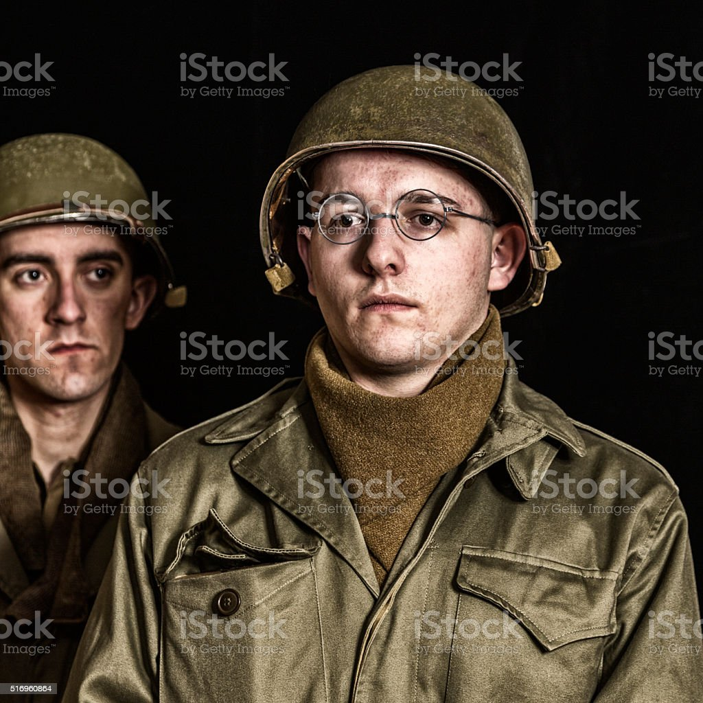 WWII US Army New Young Infantry Soldier Recruit stock photo