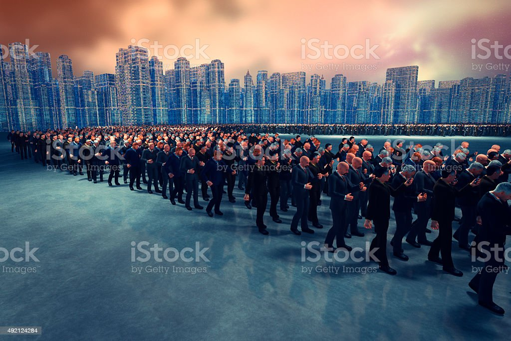 Army of businessman using smart phones stock photo