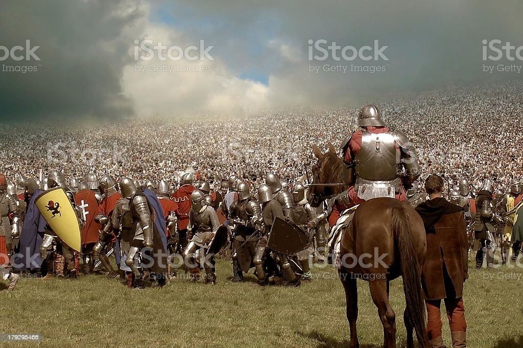 army of knights stock photo