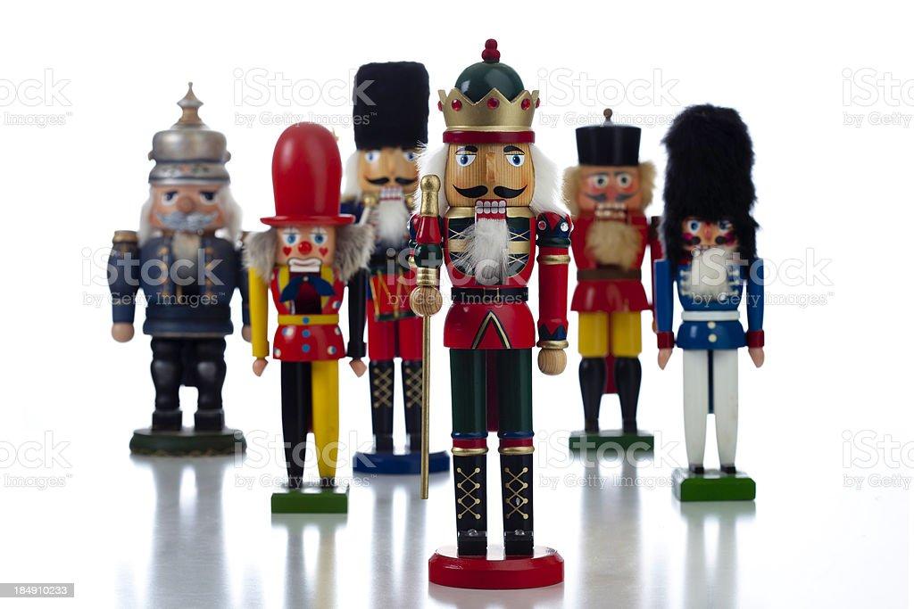 Army of Nutcrackers on White stock photo