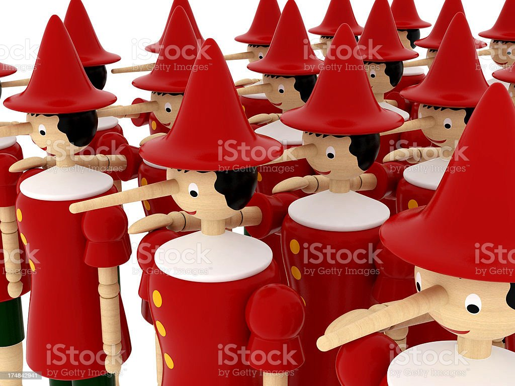 Army of Pinocchios royalty-free stock photo