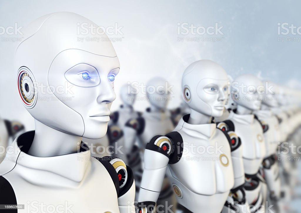 Army of robots vector art illustration