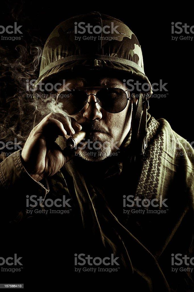 army officer smoking a cigar stock photo
