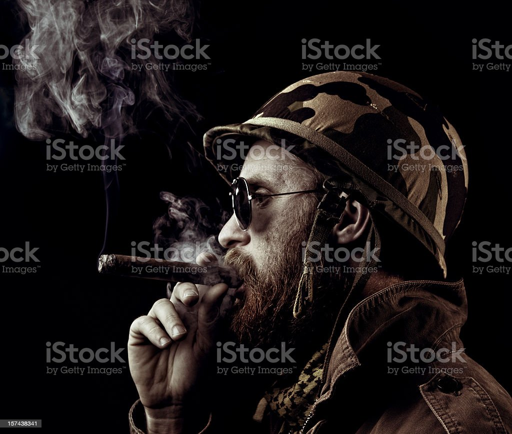 army officer smoking the victory cigar stock photo