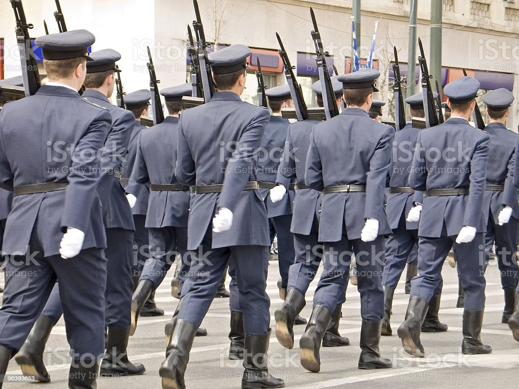 Army Officers Marching in Parade stock photo