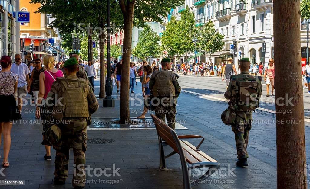 Army on the streets of Nice, France after Terrorist Attack stock photo