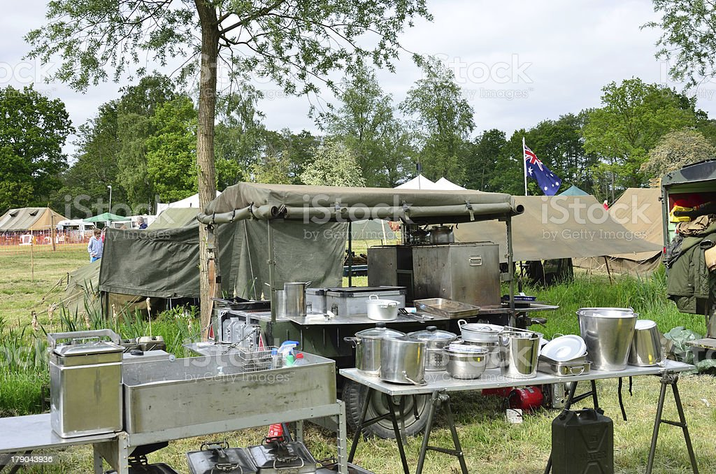 Army outdoor kitchen royalty-free stock photo