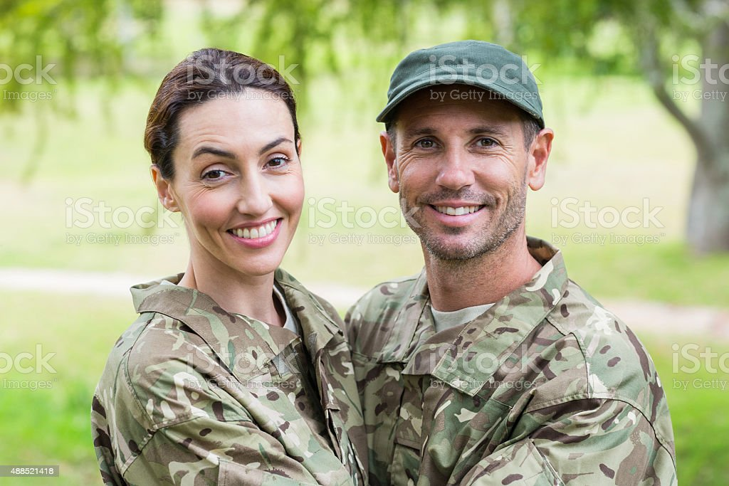 Army parents reunited stock photo