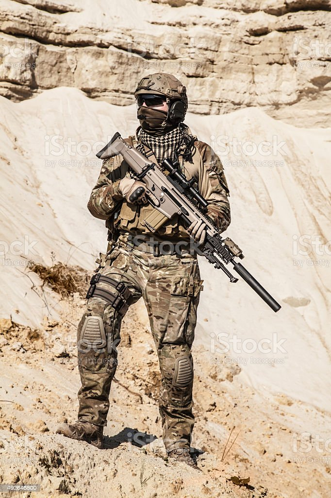 Army ranger in the mountains stock photo